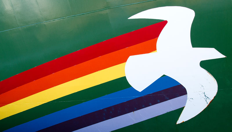 Rainbow and Dove on the bow of the Rainbow Warrior III