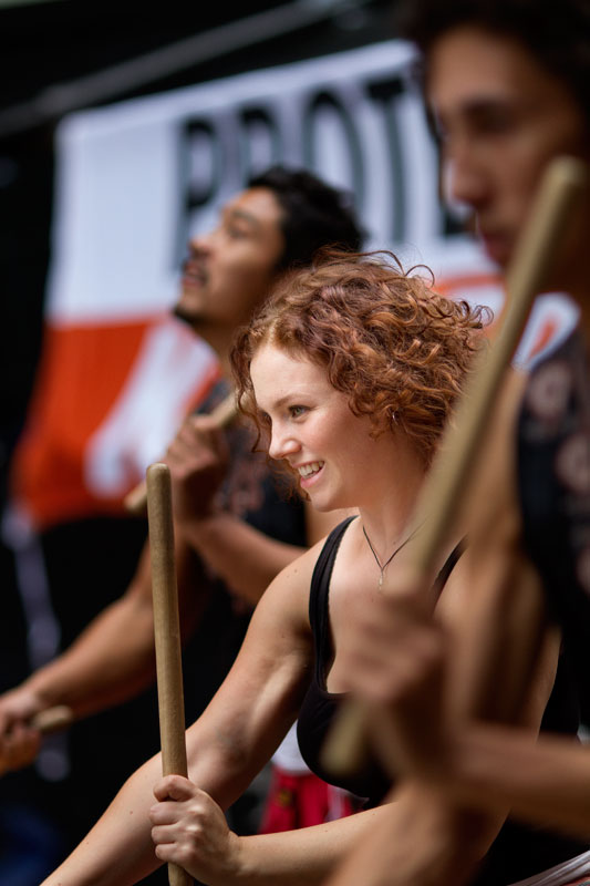 The Rhythm Hunters drum up a storm of protest!